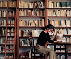 book, book shelves, and books image