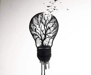 birds, lightbulb, and tattoo image