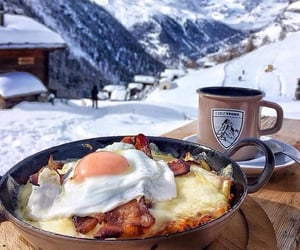 winter, breakfast, and mountains image