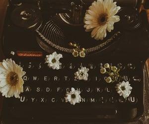 typewriter, flowers, and vintage image