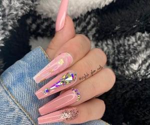 nails, pink nails, and glam nails image