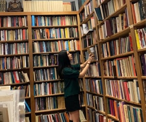 books, fashion, and library image