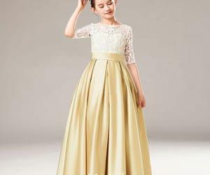 birthday dress, gold dress, and satin dress image