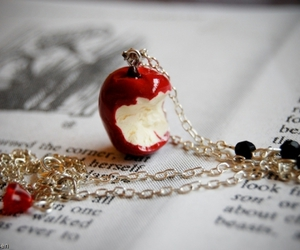 apple, necklace, and red image