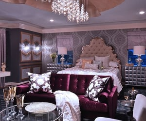 bedroom, chandeliers, and luxurious image