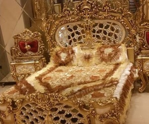 bedroom, gold, and luxurious image