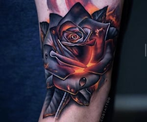 arm tattoo, rose, and tattoo image