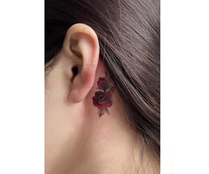 rose tattoo, back ear tattoo, and small rose image