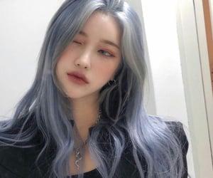 girl, blue hair, and korean image