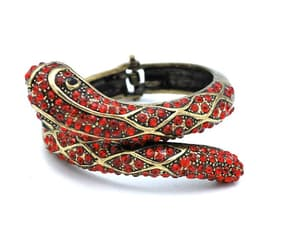Snake Bracelet red rhinestone Antique brass Gold  metal image 0