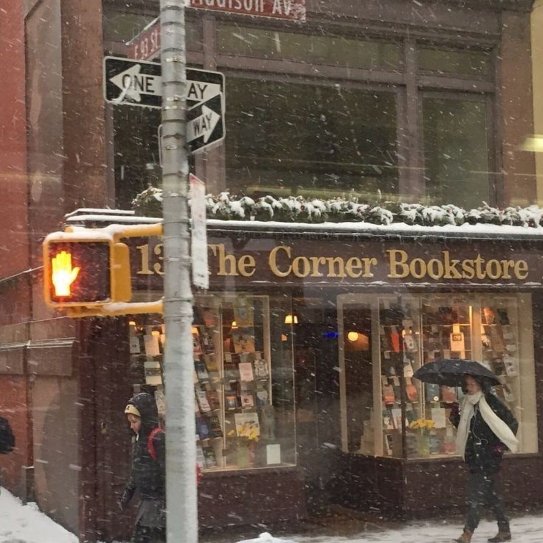 bookstore, snow, and winter image
