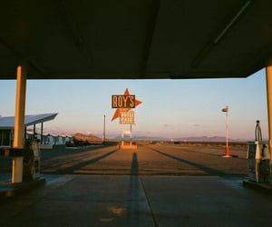 blue, gas station, and sunset image
