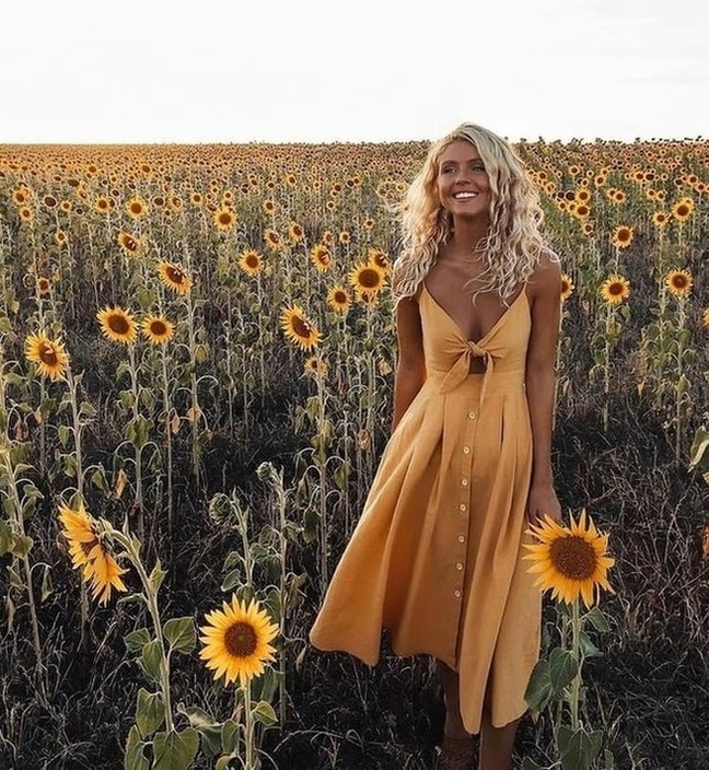 sunflower, dress, and girl image