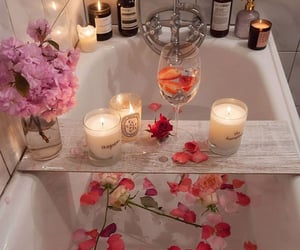 bath, flowers, and bathroom image