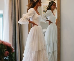 white, dress, and hair image