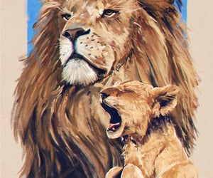art, beige, and baby lion image