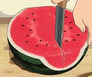 anime, watermelon, and anime foods image