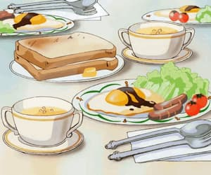 anime, breakfast, and anime foods image