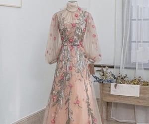 dress, flowers, and gown image