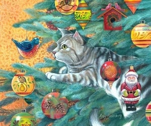 cartoon, christmastime, and cat image