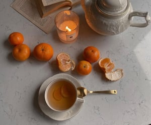 tea, candle, and delicious image