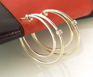 Medium Double Open Hoop Earrings Sterling Silver CZ Studs image 0