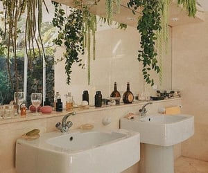 plants, bathroom, and aesthetics image
