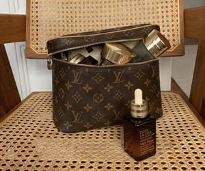 beauty, cosmetic bag, and Louis Vuitton image