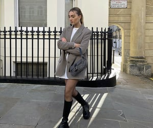 grey blazer, street style, and knee high boots image