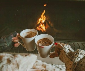 winter, coffee, and fireplace image