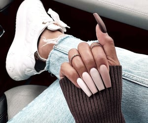 brown, denim, and hand image