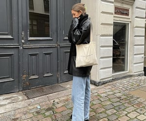 street style, everyday look, and wide leg jeans image
