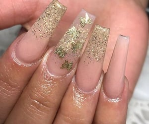 butterfly, gel nails, and nude nails image