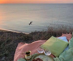 picnic, sunset, and beach image