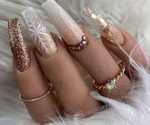 bronze, acrylic nails, and glitter image