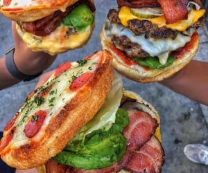 food, pizza, and burger image