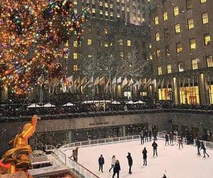 christmas, ice skating, and new york image