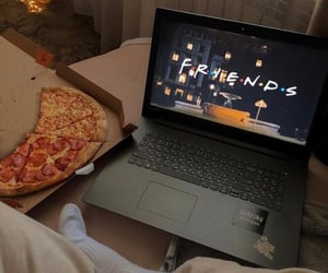 food, laptop, and pizza image