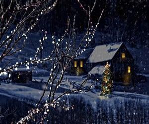 christmas, house, and ice image