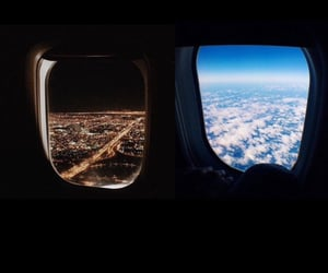 airplane, night, and plane image