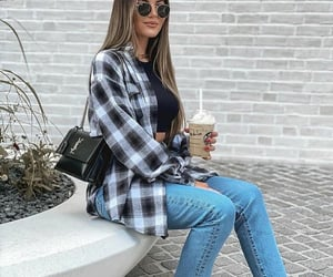 jeans, shirt, and style image