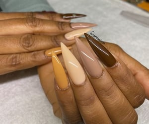 fake nails, gel nails, and nude colours image