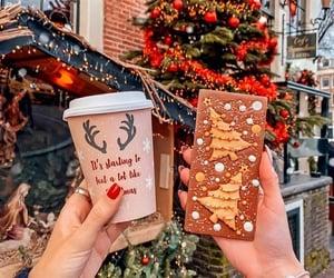 christmas, christmas tree, and coffee image