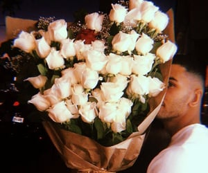 couple, flowers, and man image