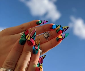 stained glass, unique nails, and stiletto shape image
