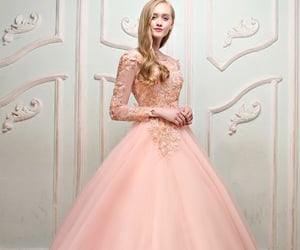 ballgown, chiffon, and lace image