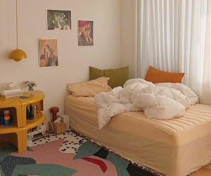apartment, bedroom decor, and beige image