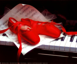 ballet, piano, and red image