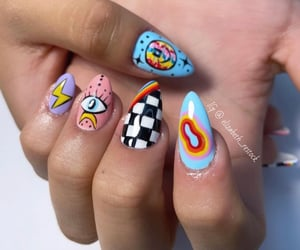 nail art, rainbow nails, and short nail art image