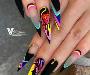 black nails, nails, and neon nails image